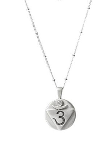 OM, Sterling Silver on Saturn Chain