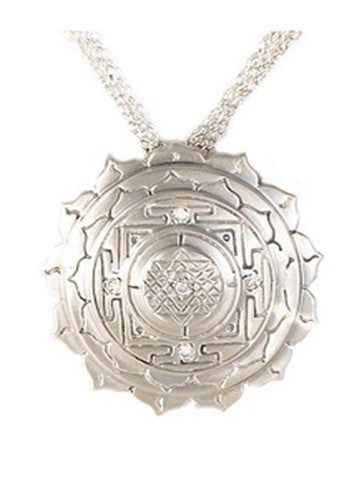 Sri Yantra a Large Pendant Elaborate with 5 White Sapphires in Sterling Silver