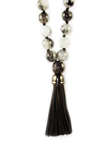 Mala Rutalite with Gunmetal Sterling Silver Tassel