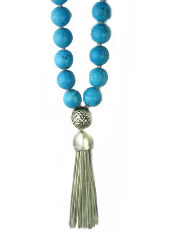 Mala - Turquoise with Sterling Silver Tassel