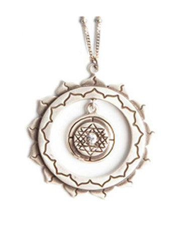Sri Yantra an Inner Circle Pendant with Sapphire-Sterling Silver