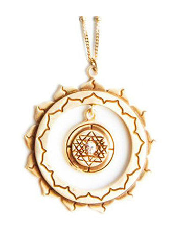 Sri Yantra an Inner Circle Pendant with Sapphire-Vermeil