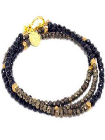 Triple Wrap Bracelet- Pyrite and Black Onyx