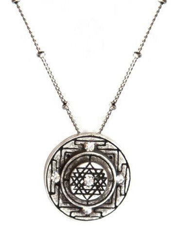 Sri Yantra a Medium Goddess Pendant with 5 Handset Cubic Zirconias
