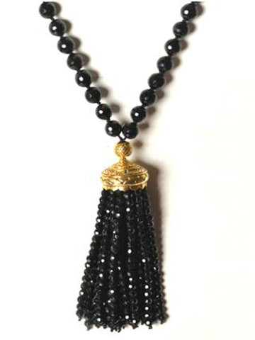 Mala Sri Yantra Beaded Tassel Black Onyx and Bronze Plated Gold