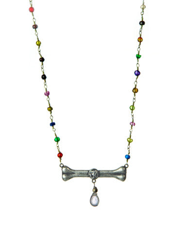 Dog Bone Beaded Drop Necklace- Multicolor