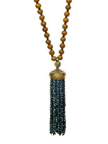 Mala- Sandalwood with Black Onyx Tassel