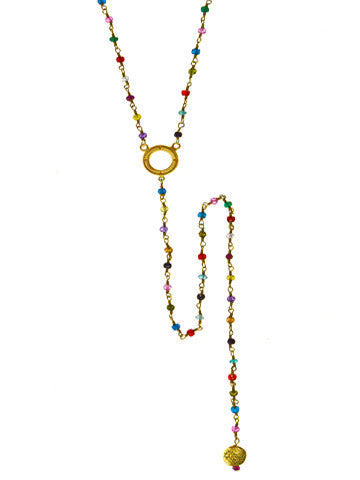 V Open Disk Multicolor Beaded Necklace with Long Sri Yantra Drop