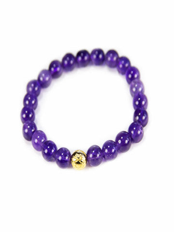 Sri Yantra Stretch Gemstone Bracelet- Amethyst