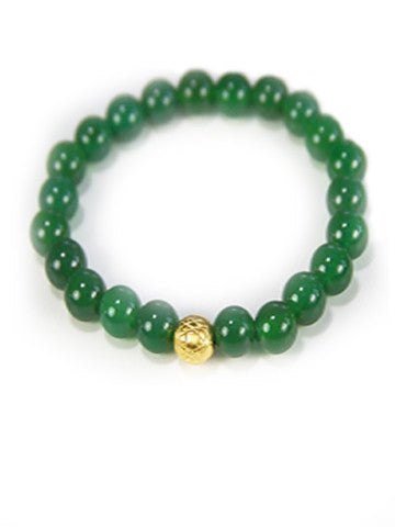 Sri Yantra Stretch Gemstone Bracelet- Green Agate