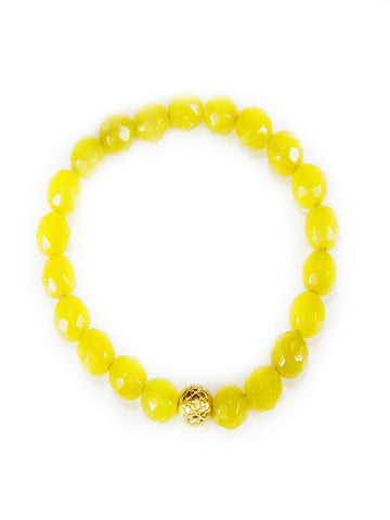 Sri Yantra Stretch Gemstone Bracelet- Yellow Agate