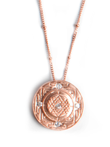 Sri Yantra a Medium Goddess Pendant with 5 Sapphires-Rose Gold-Vermeil