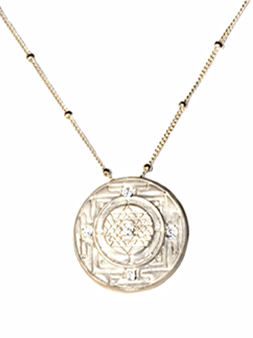Sri Yantra a Medium-Large Goddess Pendant with 5 Sapphires-Sterling Silver