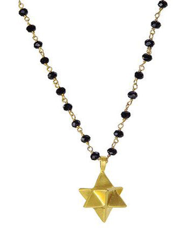 Star Tetrahedron Necklace Beaded Black Onyx Vermeil