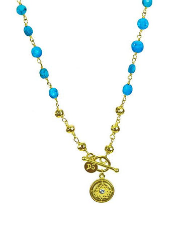 Sri Yantra Turquoise Beaded Necklace