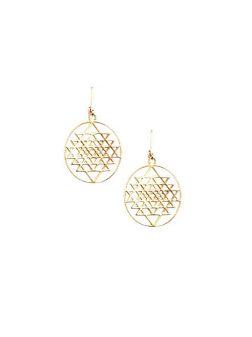 Sri Yantra Disk Earrings