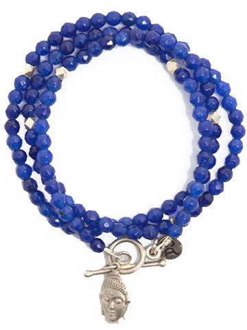 Triple Wrap Buddha Bracelet- Blue Quartz