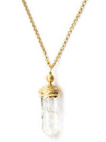 "Sri Yantra 32"" Small Crystal Necklace/Vermeil"