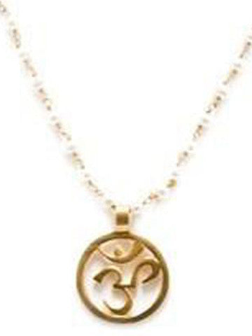 "Om Pendant with Colorful Stone Chain, 28"" Chain-Crystal Moonstone"