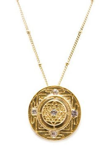 Sri Yantra a Medium-Large Goddess Pendant with 5 Sapphires-Vermeil