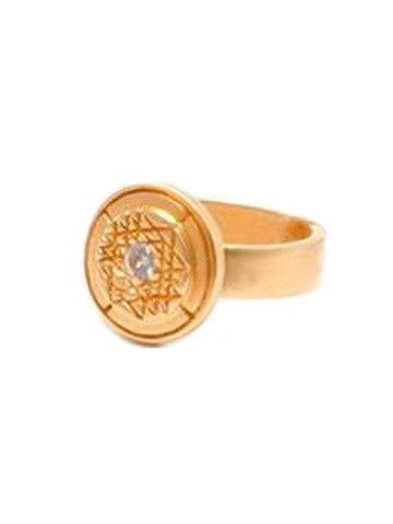 Sri Yantra Ring Small Medallion - Vermeil Saphire