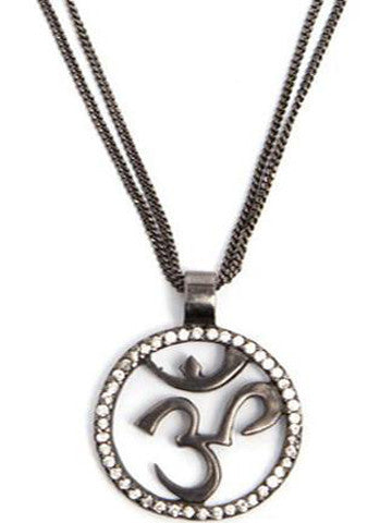 Om Necklace Gunmetal with CZ Stones