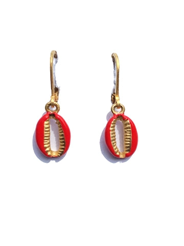 Cowrie Shell Drop Earring - Colored Enamel