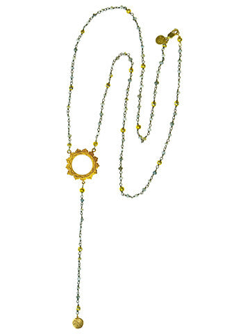 V Sri Yantra Pyrite and Druzi Beaded Necklace with Long Sri Yantra Ball Drop
