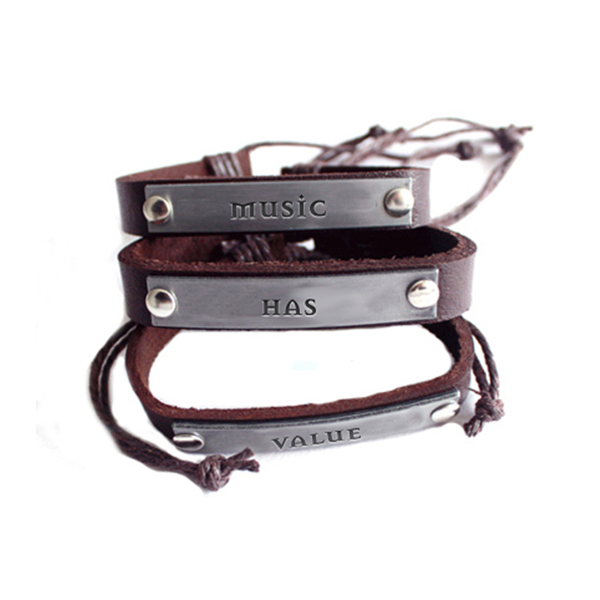 MHV Brown Leather Bracelet