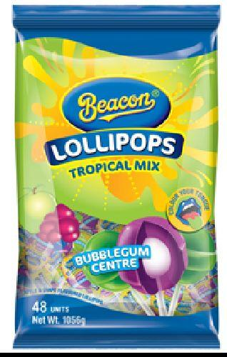 Beacon - Lollipops - Tropical Mix, Bubblegum Centre