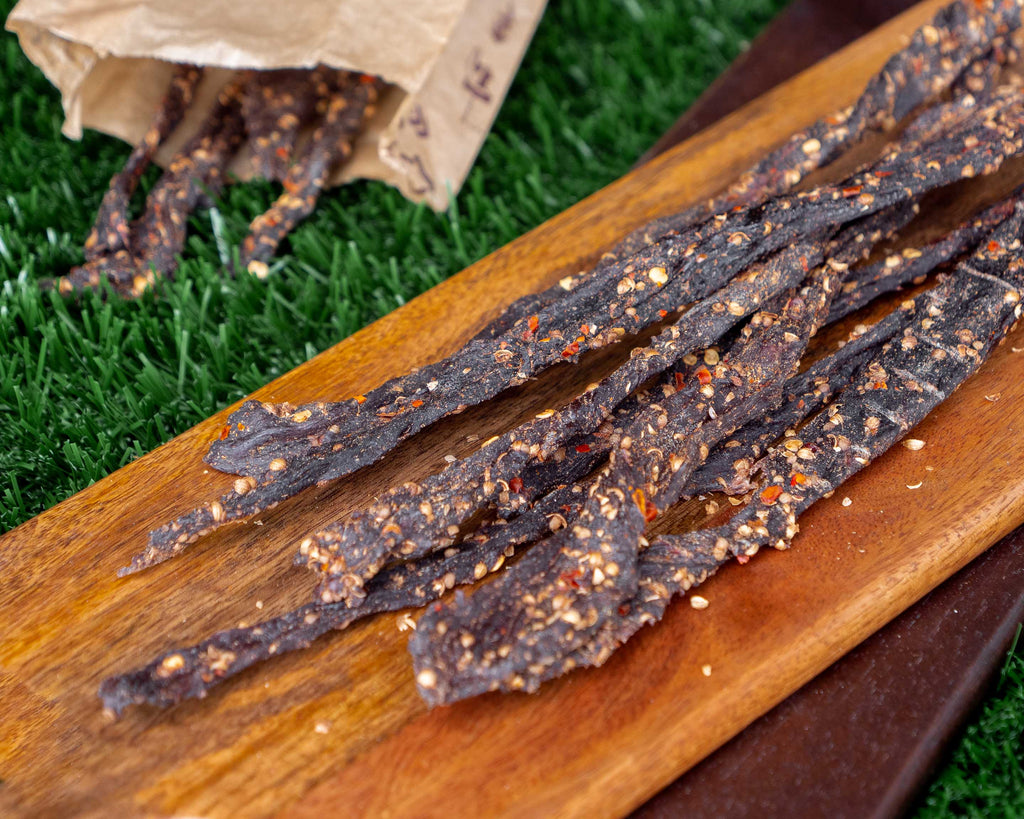 "Biltong Snapsticks (""Stokkies"") - Garlic & Chilli Flavour"