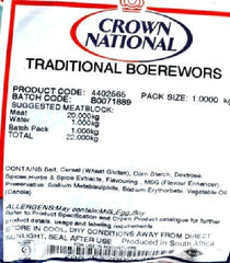 Crown National - Spice Mix Seasoning - Traditional Boerewors
