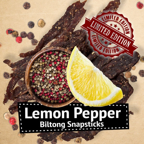 "Limited Edition Lemon Pepper Biltong Snapsticks (""Stokkies"")"