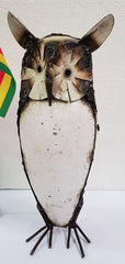 Metal Curios - Bird Owl Large White x1