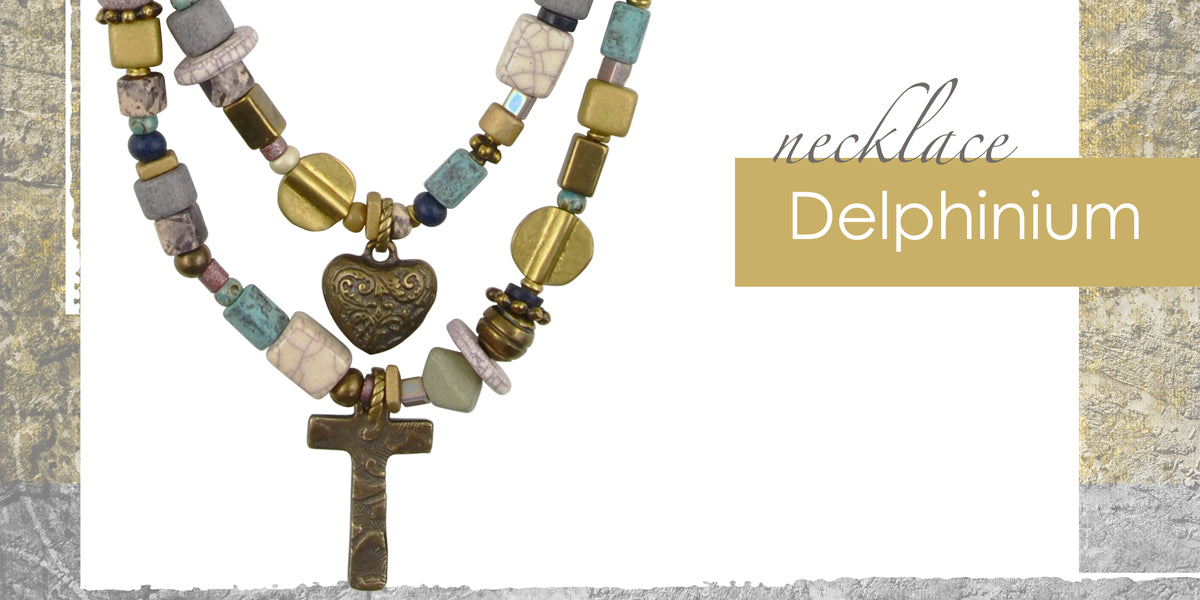 Delphinium Necklace Amphora Beads