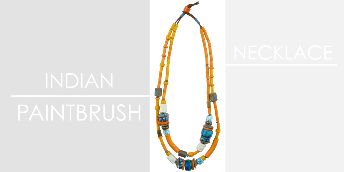 Indian Paintbrush Necklace Amphora Beads