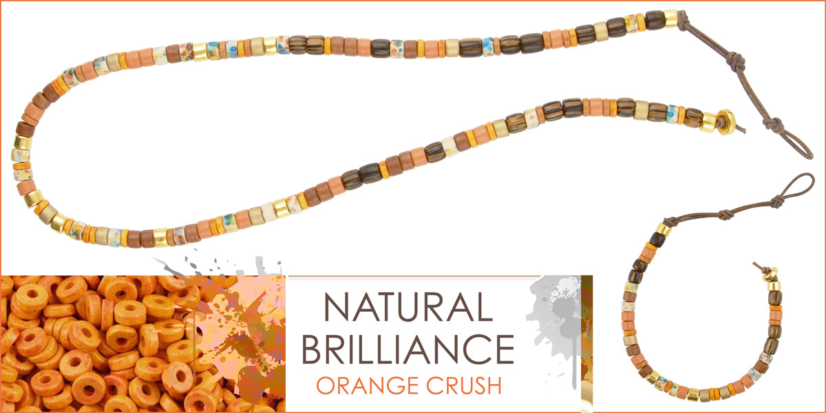 Natural Brilliance Orange Crush Leather Necklace and Bracelet Amphora Beads