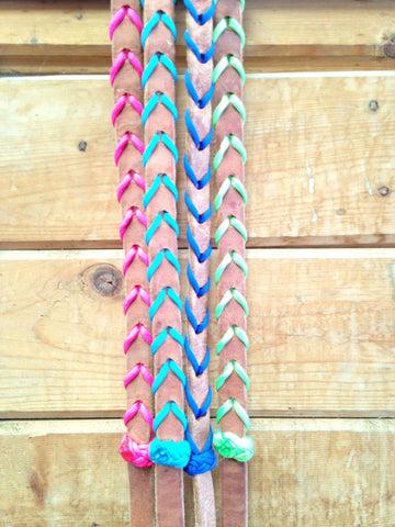 Cord Laced Leather Reins