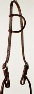 Oiled Single Ear Headstall w/Pineapple Knots