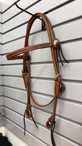 Oiled Leather Browband Concho