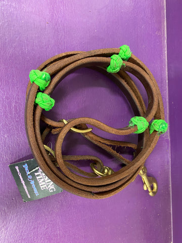 Lime Green Knotted Oiled Reins 5/8""