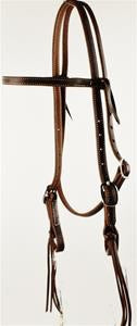 Oiled Leather Browband w/Pineapple Knots
