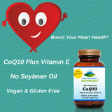CoQ10 Plus Vitamin E - 60 Capsules Now with 100mg Coenzyme Q10
