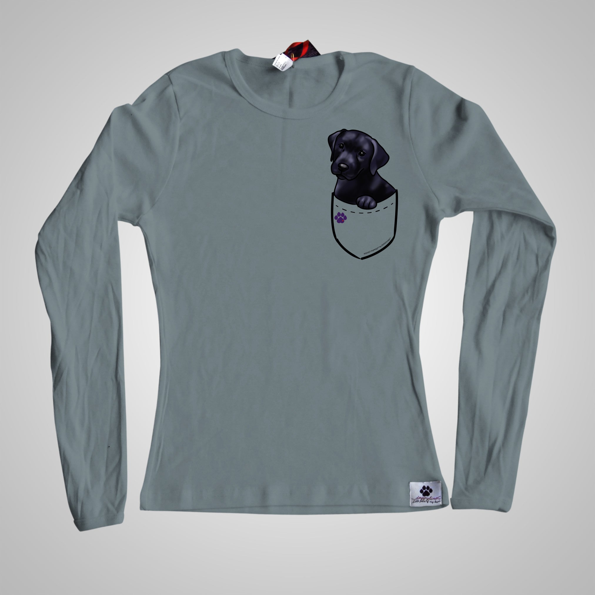 Long Sleeves Pocket Puppiez Black Lab