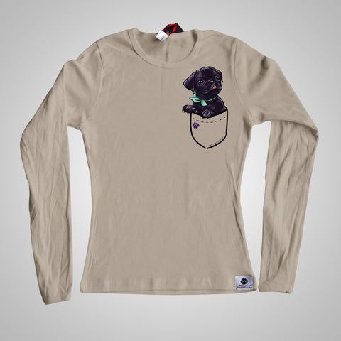 Long Sleeves Pocket Puppiez Pug Black