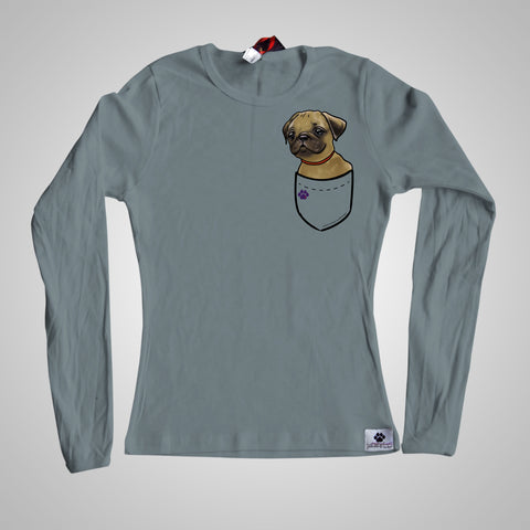 Long Sleeves Pocket Puppiez Pug Fawn