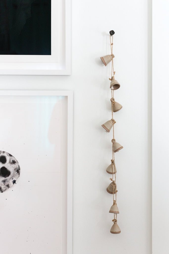 Taupe Ceramic Bell Garland Decor