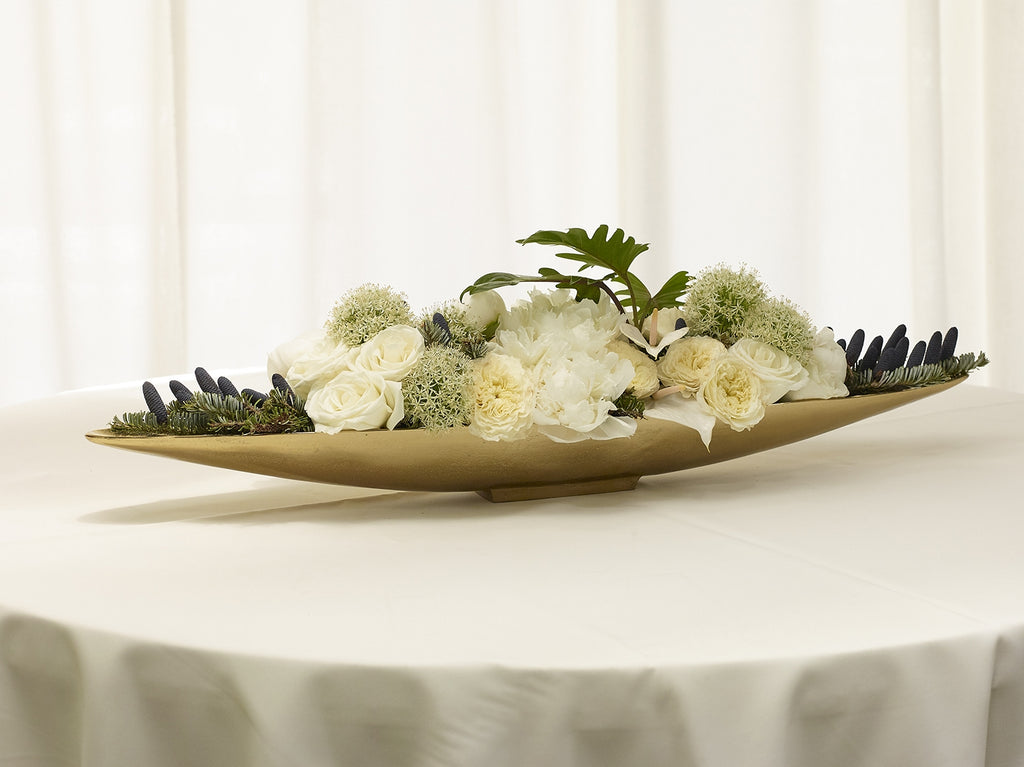 Elongated Large Gold Metal Boat Tray Centerpiece