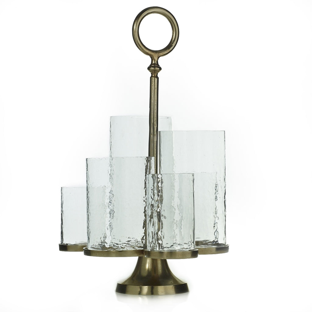 Textured Glass and Antiqued Gold Multi-Tiered Ethereal Candle Holder