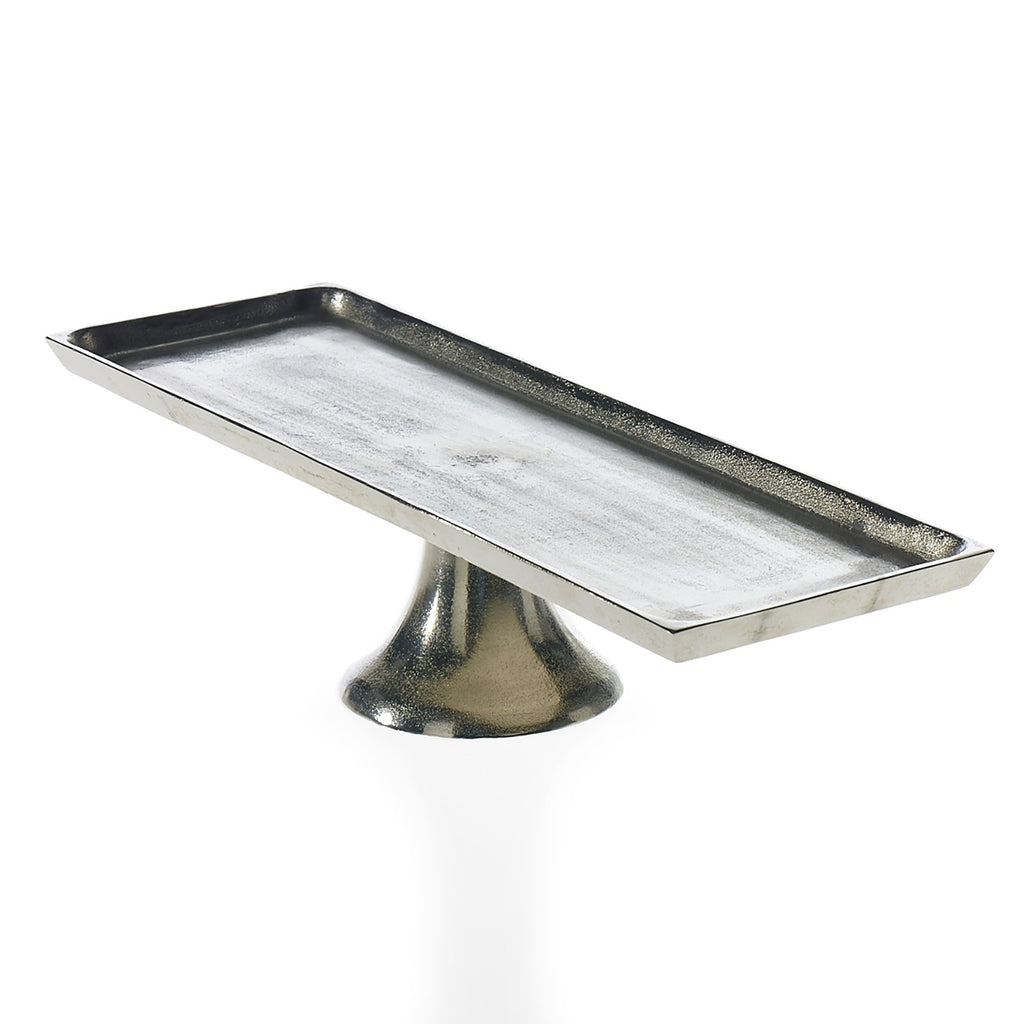 Classic Long Antiqued Silver Metal Centerpiece Riser Tray - 3 Size Options